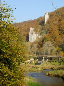 Autumn scenery at Beuron (Germany) on the River Danube